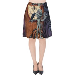 Funny Mummy With Skulls, Crow And Pumpkin Velvet High Waist Skirt by FantasyWorld7