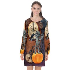 Funny Mummy With Skulls, Crow And Pumpkin Long Sleeve Chiffon Shift Dress  by FantasyWorld7