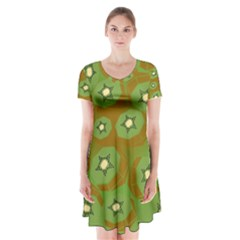 Relativity Pattern Moon Star Polka Dots Green Space Short Sleeve V Neck Flare Dress by Mariart