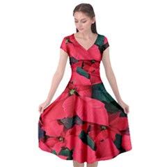Red Poinsettia Flower Cap Sleeve Wrap Front Dress