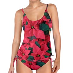 Red Poinsettia Flower Tankini Set by Mariart