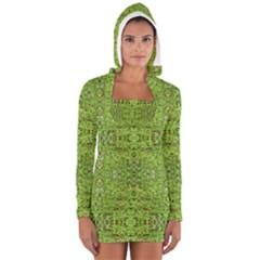 Digital Nature Collage Pattern Long Sleeve Hooded T Shirt by dflcprints