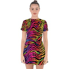 Rainbow Zebra Drop Hem Mini Chiffon Dress by Mariart