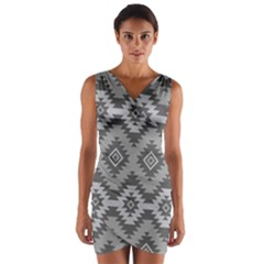 Triangle Wave Chevron Grey Sign Star Wrap Front Bodycon Dress by Mariart
