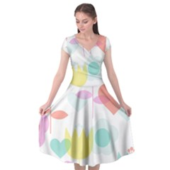 Tulip Lotus Sunflower Flower Floral Staer Love Pink Red Blue Green Cap Sleeve Wrap Front Dress