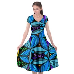 Star Polka Natural Blue Yellow Flower Floral Cap Sleeve Wrap Front Dress