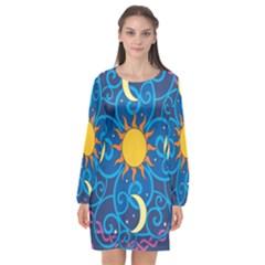 Sun Moon Star Space Vector Clipart Long Sleeve Chiffon Shift Dress