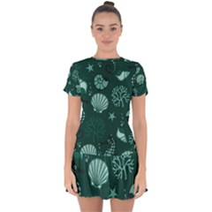 Vector Seamless Pattern With Sea Fauna Seaworld Drop Hem Mini Chiffon Dress by Mariart