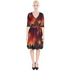Gold Golden Skyline Skyscraper Wrap Up Cocktail Dress