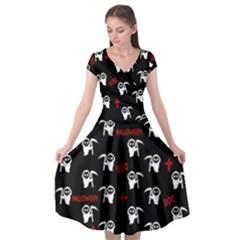 Death Pattern   Halloween Cap Sleeve Wrap Front Dress by Valentinaart