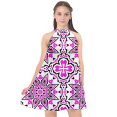 Oriental Pattern Halter Neckline Chiffon Dress  by BangZart