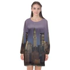 Skyline City Manhattan New York Long Sleeve Chiffon Shift Dress