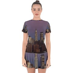 Skyline City Manhattan New York Drop Hem Mini Chiffon Dress by BangZart
