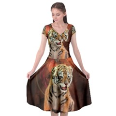 Cute Little Tiger Baby Cap Sleeve Wrap Front Dress by FantasyWorld7