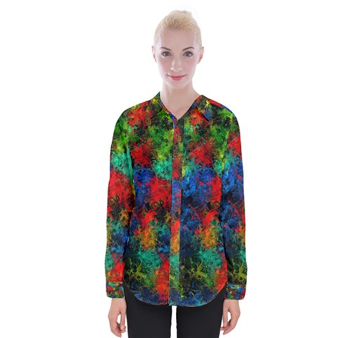 Squiggly Abstract A Womens Long Sleeve Shirt by MoreColorsinLife