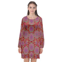 Hearts Can Also Be Flowers Such As Bleeding Hearts Pop Art Long Sleeve Chiffon Shift Dress  by pepitasart