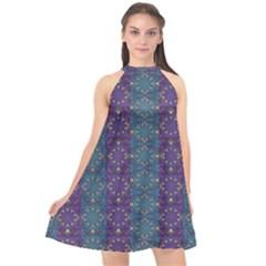 Retro Vintage Bleeding Hearts Pattern Halter Neckline Chiffon Dress  by pepitasart