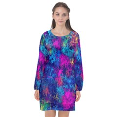 Squiggly Abstract E Long Sleeve Chiffon Shift Dress  by MoreColorsinLife