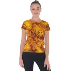 Wonderful Marbled Structure H Short Sleeve Sports Top