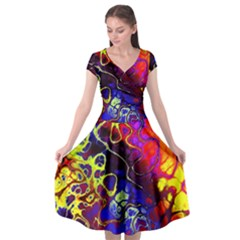 Awesome Fractal 35c Cap Sleeve Wrap Front Dress