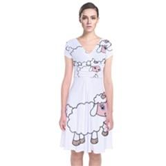 Unicorn Sheep Short Sleeve Front Wrap Dress by Valentinaart