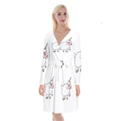 Unicorn Sheep Long Sleeve Velvet Front Wrap Dress by Valentinaart
