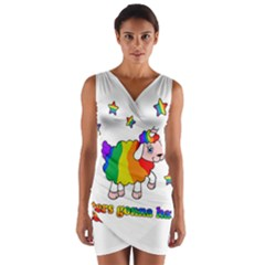 Unicorn Sheep Wrap Front Bodycon Dress by Valentinaart