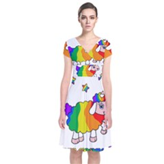 Unicorn Sheep Short Sleeve Front Wrap Dress by Valentinaart