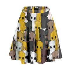 Cute Cats Pattern High Waist Skirt by Valentinaart