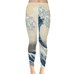 The Classic Japanese Great Wave Off Kanagawa By Hokusai Leggings  by PodArtist
