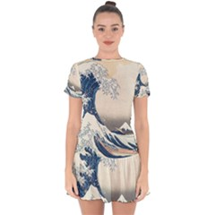 The Classic Japanese Great Wave Off Kanagawa By Hokusai Drop Hem Mini Chiffon Dress by PodArtist