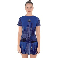 Space Needle Seattle Washington Drop Hem Mini Chiffon Dress by Nexatart