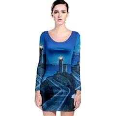 Plouzane France Lighthouse Landmark Long Sleeve Bodycon Dress