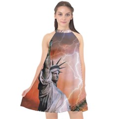 Statue Of Liberty New York Halter Neckline Chiffon Dress