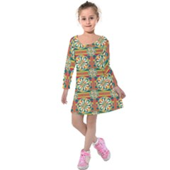 Eye Catching Pattern Kids  Long Sleeve Velvet Dress by linceazul