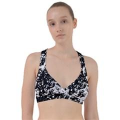 Black And White Splash Texture Sweetheart Sports Bra