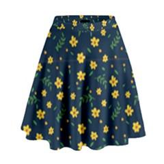 Yellow & Blue Bloom High Waist Skirt by justbeeinspired2