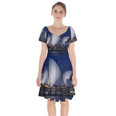 Landmark Sydney Opera House Short Sleeve Bardot Dress
