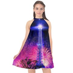 Paris France Eiffel Tower Landmark Halter Neckline Chiffon Dress  by Nexatart