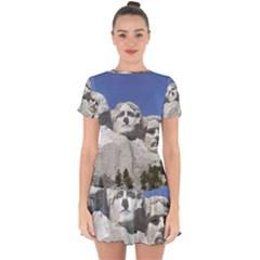 Mount Rushmore Monument Landmark Drop Hem Mini Chiffon Dress