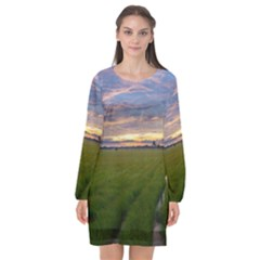 Landscape Sunset Sky Sun Alpha Long Sleeve Chiffon Shift Dress