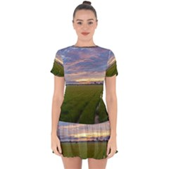 Landscape Sunset Sky Sun Alpha Drop Hem Mini Chiffon Dress