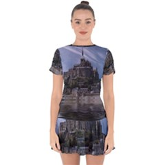 Mont Saint Michel France Normandy Drop Hem Mini Chiffon Dress by Nexatart