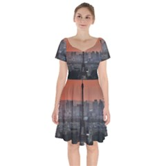 Paris France French Eiffel Tower Short Sleeve Bardot Dress