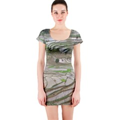 Rice Fields Terraced Terrace Short Sleeve Bodycon Dress