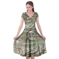 Rice Fields Terraced Terrace Cap Sleeve Wrap Front Dress by Nexatart