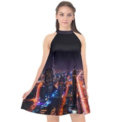 Dubai Cityscape Emirates Travel Halter Neckline Chiffon Dress