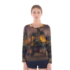 Mont St Michel Sunset Island Church Women s Long Sleeve Tee by Nexatart
