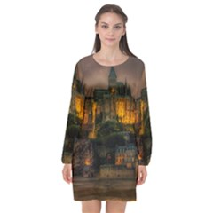 Mont St Michel Sunset Island Church Long Sleeve Chiffon Shift Dress  by Nexatart