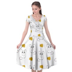 Cute Mouse Pattern Cap Sleeve Wrap Front Dress
